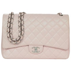 Chanel Blush Caviar Leather Quilted Maxi Double Flap Classic Bag w. DB & Box