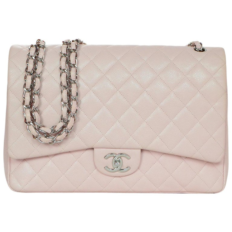 Chanel Blush Caviar Leather Quilted Maxi Double Flap Classic Bag W Db Box For