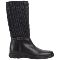 Prada Women's Black Leather Pull On Winter Sport Boots