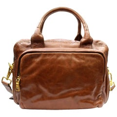 Prada Palissandro Calfskin Leather Shoulder Bag