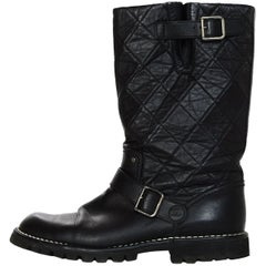 Chanel Black Leather Quilted Biker Boots W/ Side Buckles Sz 42