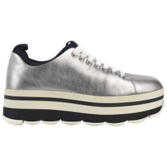Prada Womens Silver Leather Lace Up Round Toe Platform Sneakers