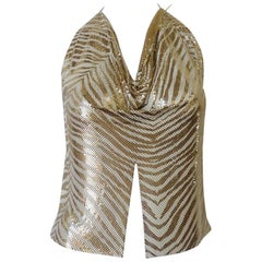1970s Whiting and Davis Tiger Print Metal Mesh Halter Top