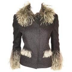 Dolce & Gabbana Wool Herringbone Jacket With Sage Ostrich Feather Trim