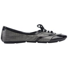 Prada Women's Black Grey Patent leather Lace Up Ballet Sneakers