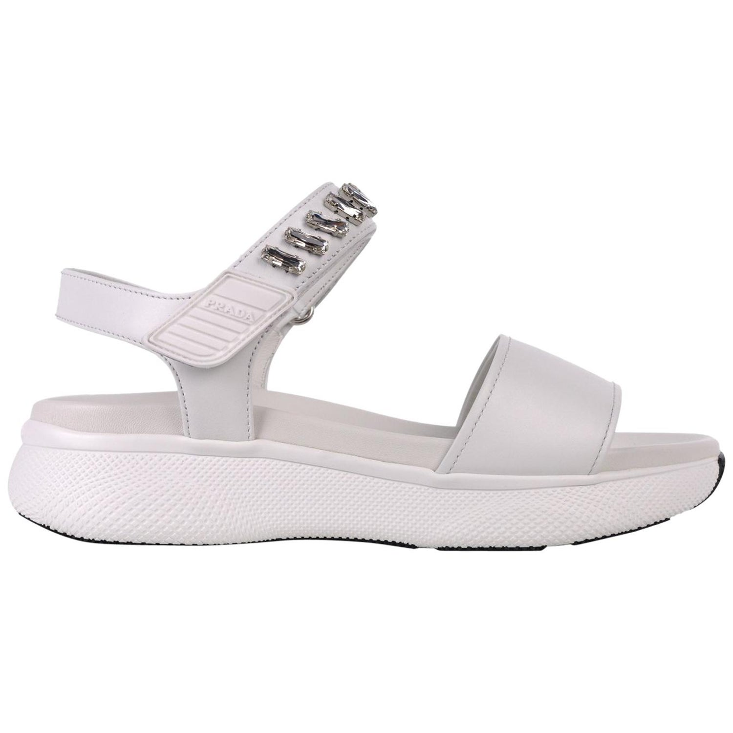 86e62ff12af Prada Women White Embellished Crystal Leather Platform Sandals For Sale at  1stdibs