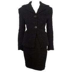Dolce & Gabbana Black Tweed Skirt Suit