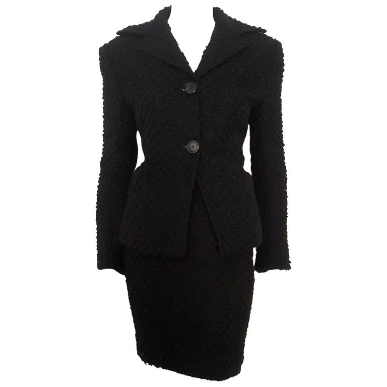 Dolce & Gabbana Black Tweed Skirt Suit  For Sale