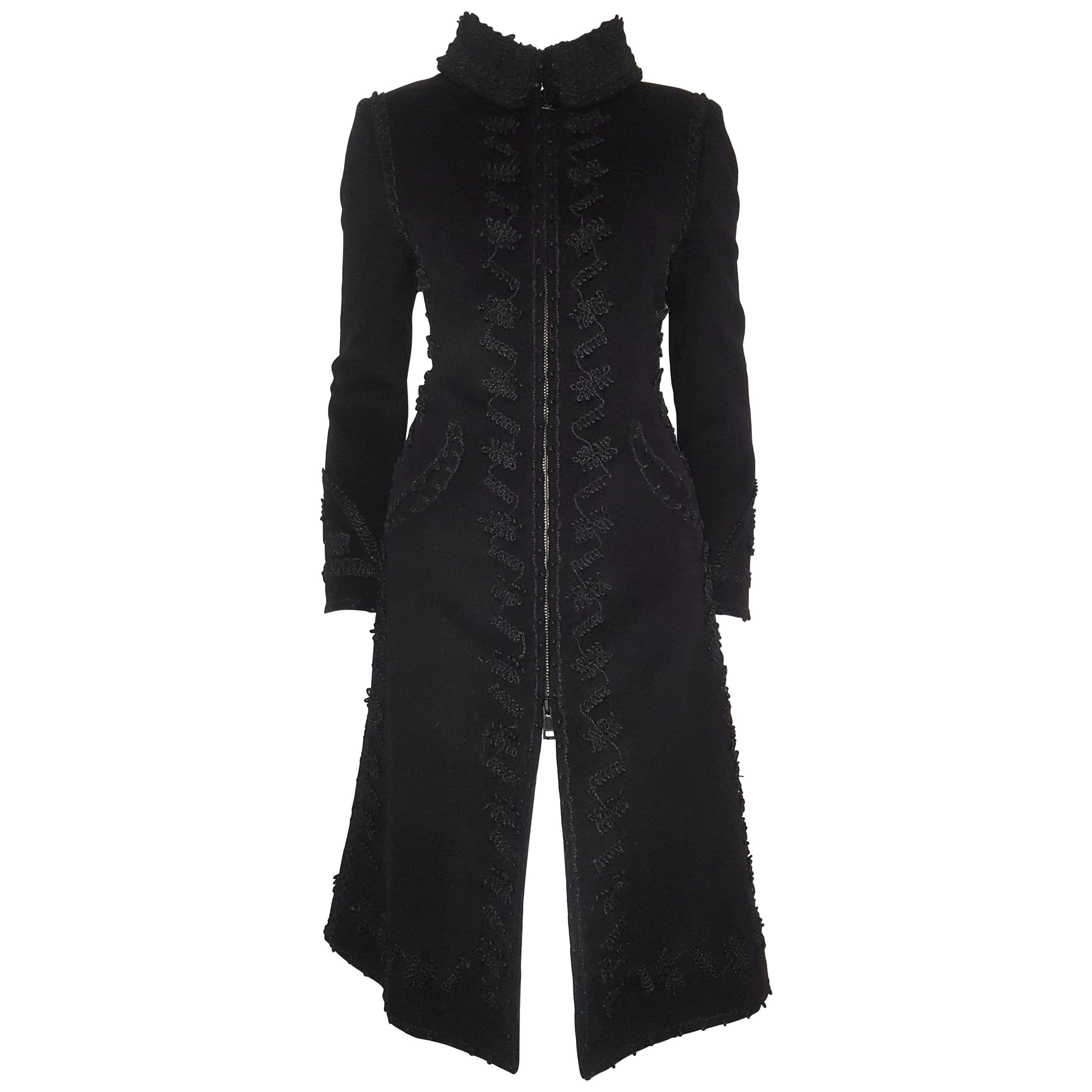 Two Wool Virgin Front Way Embroidered Zipper Moschino Coat Closure W Black qHw6T