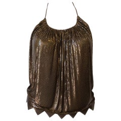 1970s Whiting and Davis Bronze Metal Mesh Halter Top