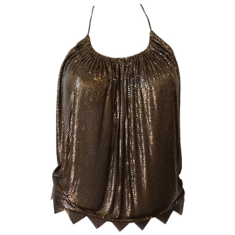 1970s Whiting and Davis Bronze Metal Mesh Halter Top For Sale