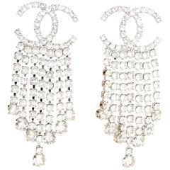 Chanel 2018 Silvertone Crystal CC Chandelier Clip On Earrings