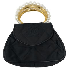 Chanel Satin and Pearl Handle Bag