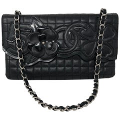 Chanel Black Leather Number Five Clutch