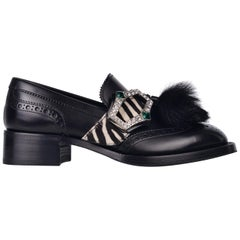 Prada Womens Black Leather Zebra Fur Tassel Crystal Buckle Oxfords