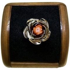 Vintage 1940s Mid Century Carved Coral Gilder Sterling Silver Floral Rose Ring