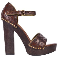 Prada Womens Brown Embroidered Leather Wooden Heel Pumps