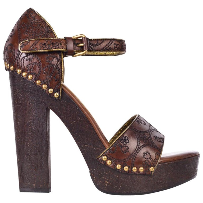 beb0ebee40f Prada Womens Brown Embroidered Leather Wooden Heel Pumps For Sale at 1stdibs