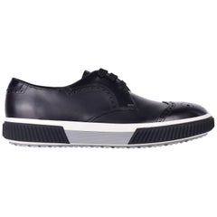 Prada Men's Black Leather Lace Up Rubber Sole Oxford Shoes