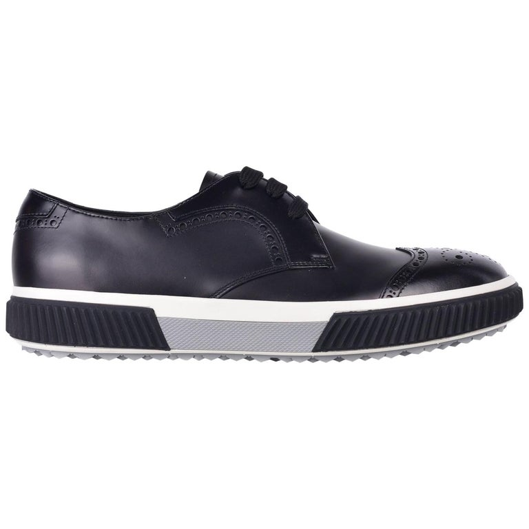 Prada Men S Black Leather Lace Up Rubber Sole Oxford Shoes For Sale
