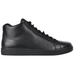 Prada Black Mens Grained Leather Lace Up High Top Sneakers