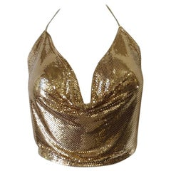 1970s Whiting and Davis Gold Metal Mesh Halter Crop Top