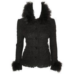 Dolce & Gabbana Wool Crochet Jacket with Turkey Feather Trim
