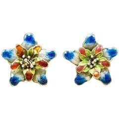 Vintage 1920s Asian Art Nouveau Enamel Gilded Sterling Filigree Flower Earrings