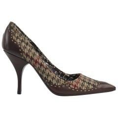 Prada Women's Brown Houndstooth Wool Leather Pointed Toe Pumps