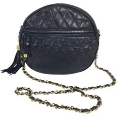 SISO Italy Navy Lambskin quilted leather round shoulder bag 1980s