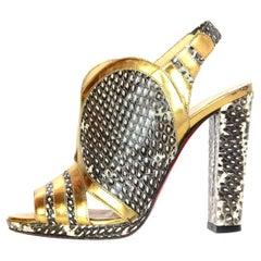 Christian Louboutin Snakeskin/Gold Leather Trim Slingback Heels Sz 38