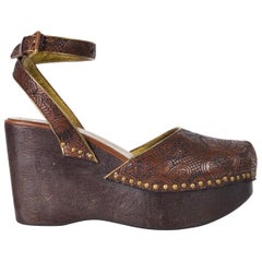 Prada Womens Brown Embroidered Leather Wooden Wedge Sandals