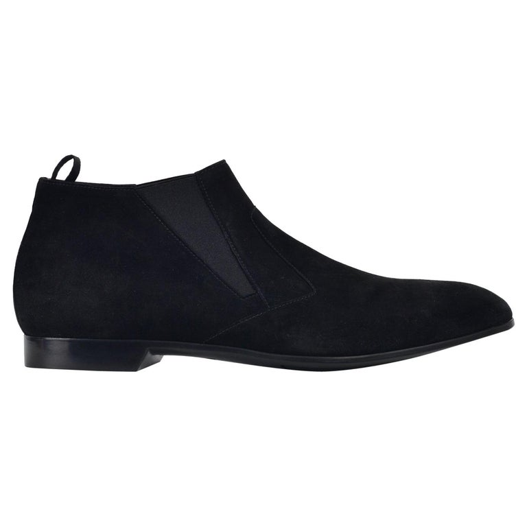 Prada Men s Black Suede Slip On Low Heel Elegance Loafers For Sale ... f52656914