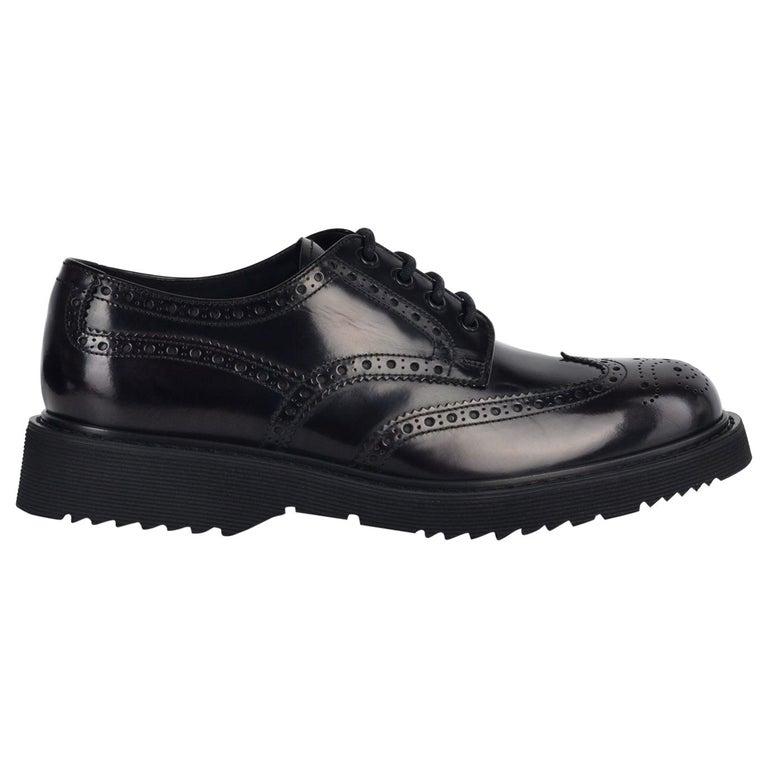 365c0df09a4 Prada Men Black Patent Leather Brogue Platform Oxfords For Sale at ...