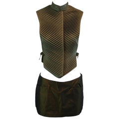 1990's Alexander McQueen Chinese Armor Vest Bumster Mini Skirt Set