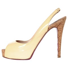 Christian Louboutin Beige Patent Leather So Private 120 Cork Pumps Sz 37