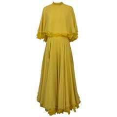 1970s Yellow La Mendola Italy Silk Chiffon Gown