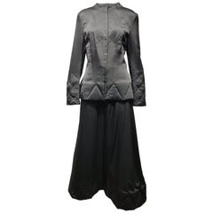 Yohji Yamamoto Black Long Sleeve Silk Quilted Jacket and Skirt Set