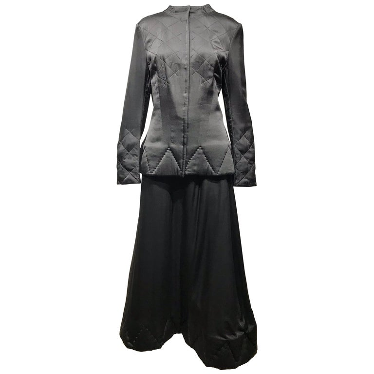 Yohji Yamamoto Black Long Sleeve Silk Quilted Jacket and Skirt Set For Sale