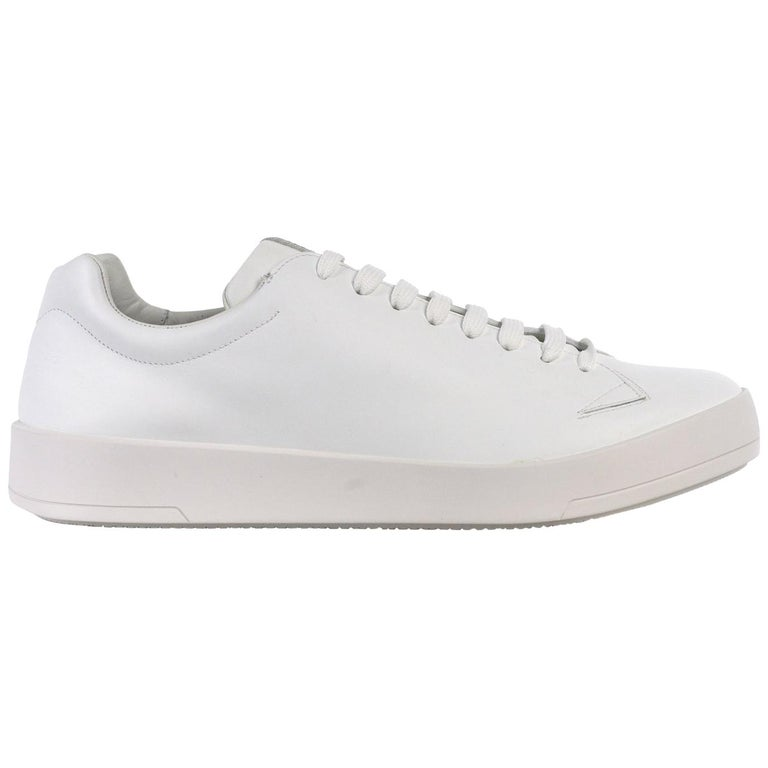 41d4645fe7e9 Prada Mens White Leather Lace Up Low Top Sneakers For Sale at 1stdibs
