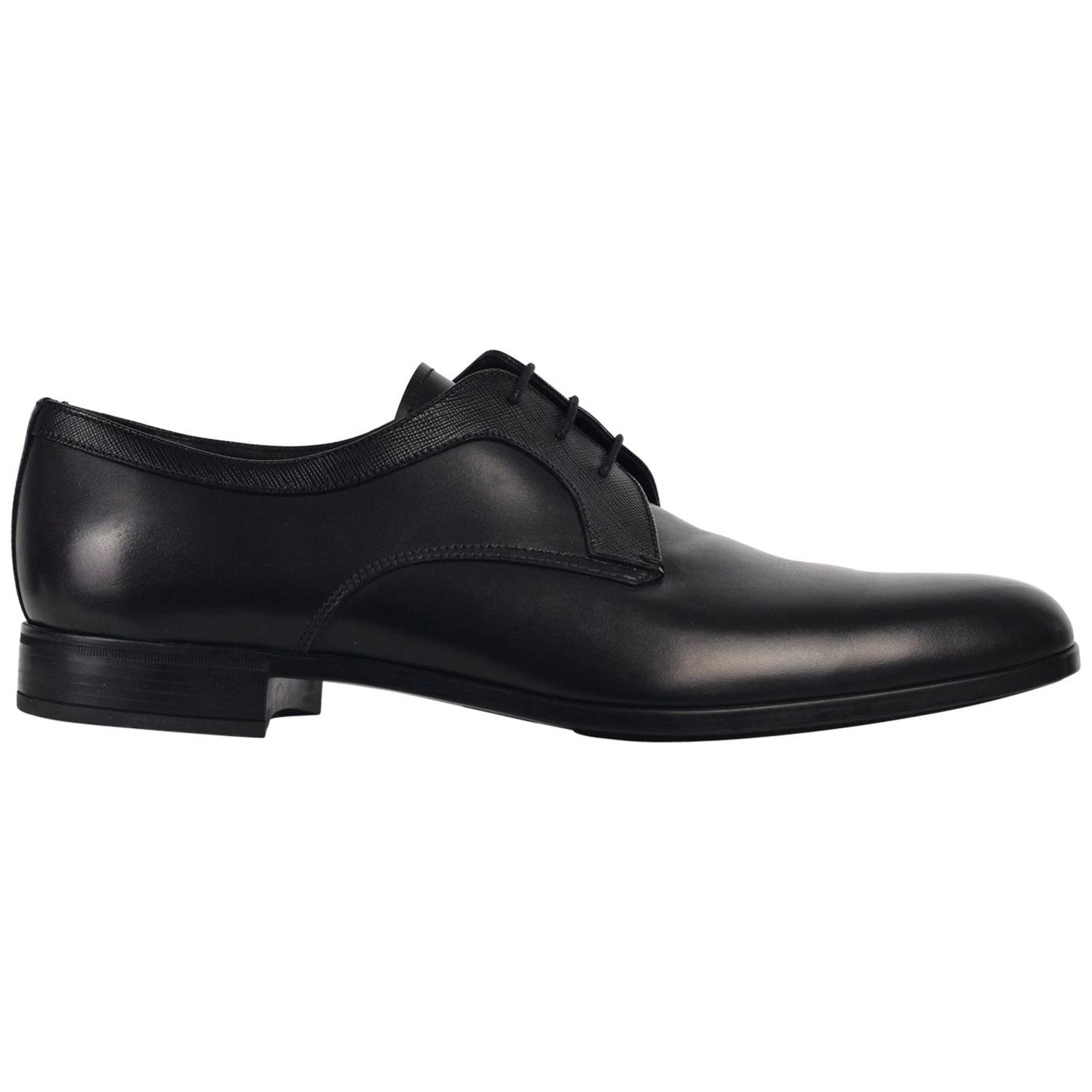 Prada Men S Black Wessex Leather Lace Up Derby Luxury Shoes For Sale