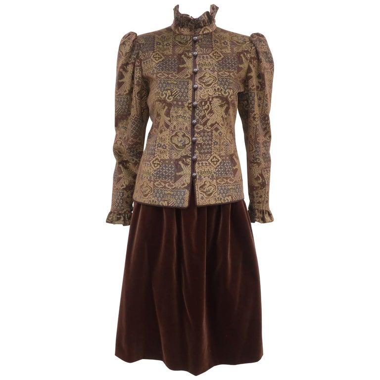 1970's Jean Louis Scherrer Brown Velvet Skirt Suit With Tapestry Style Jacket For Sale