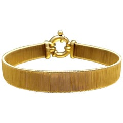 Vintage 1970s Modernist Gilded Sterling Silver Womens Christmas Gift Bracelet