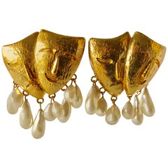 Vintage Lavin Drama Mask Statement Pearl Earrings