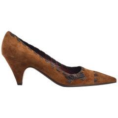 Prada Women's Brown Suede Kitten Heel Tie on SIde Pumps