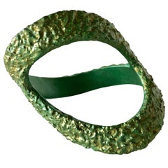 Vintage 1960's  Sea foam Green Abstract Bangle Bracelet