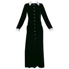 Velvet Contrast Coat Dress with Appliqué Collar, late 1940s