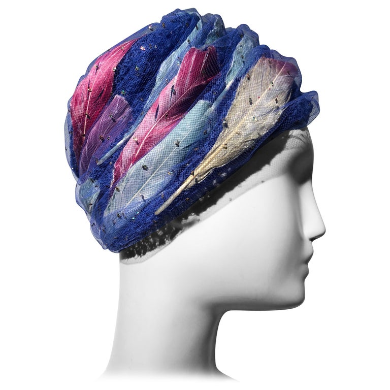 9a53d525 1960s Christian Dior Cobalt Blue Turban-Style Hat W/ Pink White & Blue  Feathers