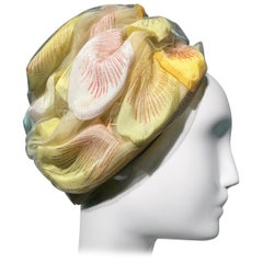 1960s Christian Dior Pale Yellow Silk Beehive Turban Hat W/ Large Pastel Petals