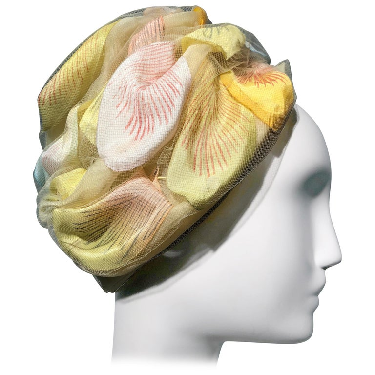 1960s Christian Dior Pale Yellow Silk Beehive Turban Hat W/ Large Pastel Petals For Sale